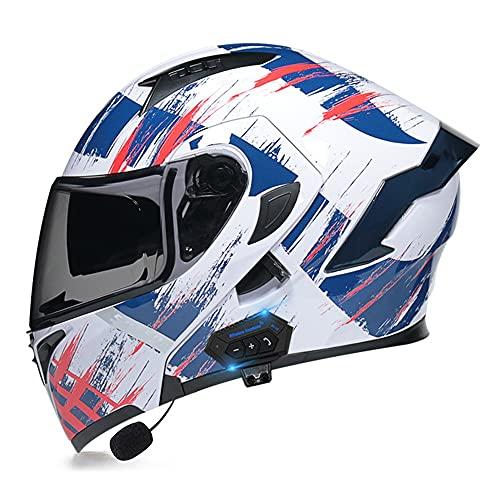 RMBDD Casco Moto Modular Bluetooth Incorporado Casco Moto Integral Dot/ECE Aprobado Casco con Doble Visera Anti Vaho para Hombre y Mujer Casco de Motocicleta para Adultos (55~62cm)