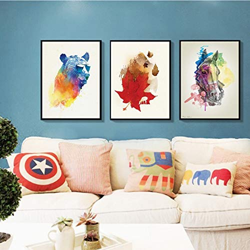 SDFSD Hot Modern Creative Watercolor Animals Canvas Paintings Decorative Nursery Poster Prints Wall Art Pictures Kids Room 40 * 50cm