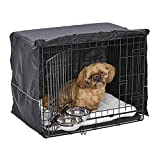 iCrate Dog Crate Starter Kit | 24-Inch Dog Crate Kit Ideal for Small Dog Breeds (weighing 13 - 25 Pounds) || Includes Dog Crate, Pet Bed, 2 Dog Bowls & Dog Crate Cover (Black)