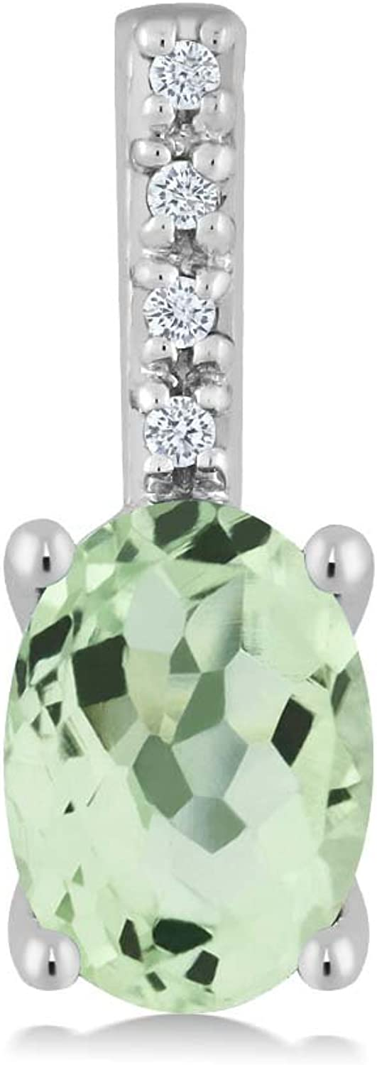 14K White gold Women's Oval Green Amethyst and Round White Diamond Pendant Necklace (7X5MM Center, 0.77 cttw)