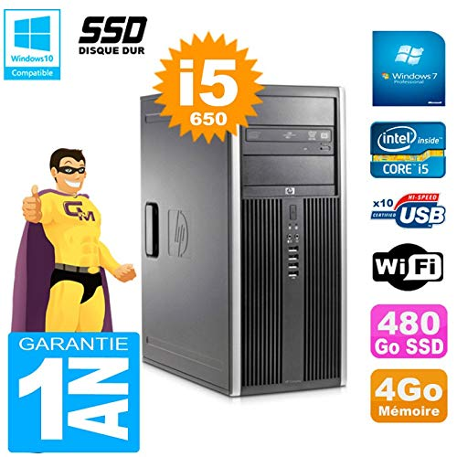 HP PC 8100 Tour Core i5-650 RAM 4 GB SSD 480 GB grabadora DVD WiFi ...