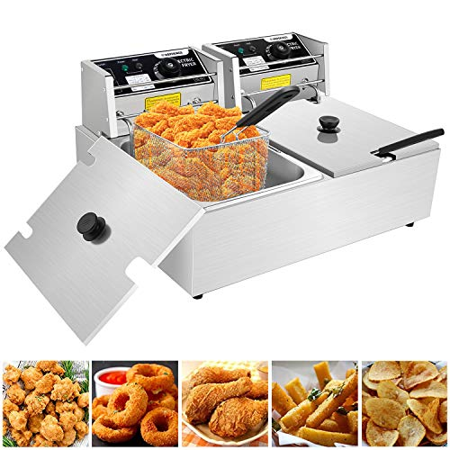 Commercial Deep Fryers with Basket and Temperature Control, Electric Stainless Steel Countertop Deep Fryer for Home Restaurant French Fries Fish Turkey