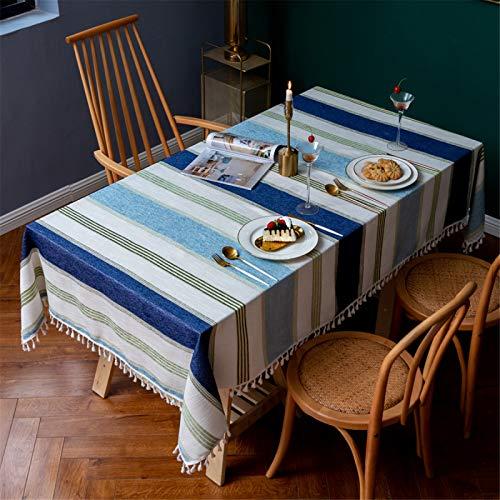 Mantel Rectangular A Rayas con Flecos para Restaurante En Casa, Mantel Redondo De Poliéster para Hotel, Mantel Cuadrado 140x260cm