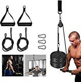 Functional Fitness Cable Pulley Equipment Workout Lat & Tri Pull Down System with Foam Handle and Single Bar Accessories for Home Gym Garage Chest Biceps Triceps ABs Strength Training Exercises