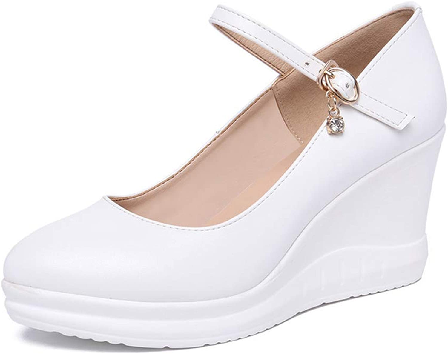 Women's Wedge shoes Pointed Platform shoes Work shoes Cheongsam Catwalk shoes Fashion Buckle shoes Party & Evening (color   White, Size   39)