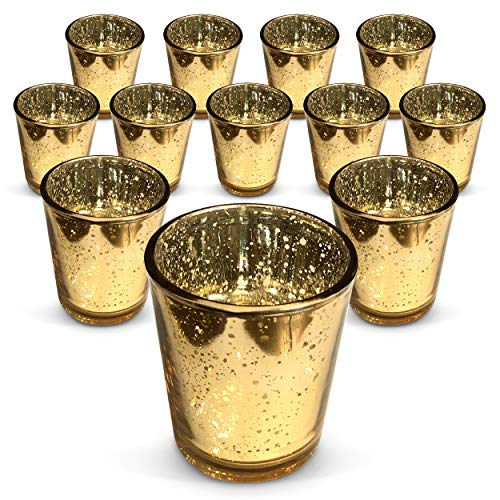 Jollyloves Set of 12- Mercury Glass Gold Votive Tea Light Candle Holder with A Speckled Gold Finish - Perfect Centerpieces for Weddings, Parties and Home Decor