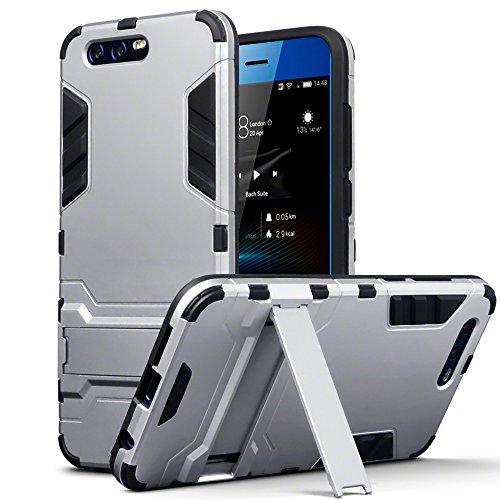 TERRAPIN, Kompatibel mit Huawei Honor 9 Hülle, Silikon + Polycarbonat Tasche mit Standfunktion - Silber