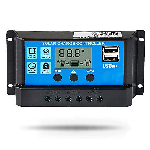 20A Solar Charge Controller 12V/24V Auto, Solar Panel Battery Controller 20Amp PWM Solar Regulator with Dual USB LCD fit for Small Solar System