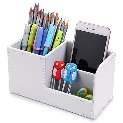 btsky 3 fach PU Leder Schreibtisch Organizer – Office Multifunktions-Stationery Halter Schreibtischset Visitenkarte Pen Handy-Fernbedienung Halter Kosmetik Organizer Storage Box (weiß)