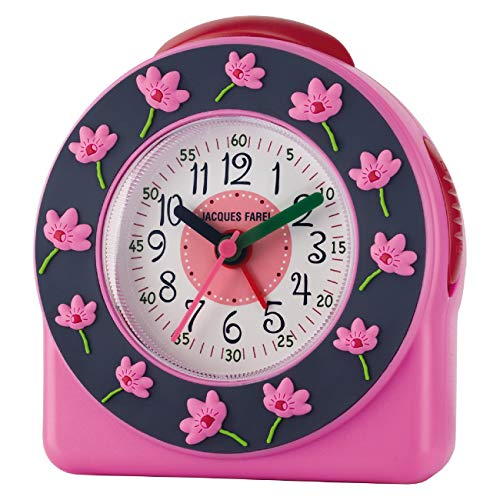 JACQUES FAREL Kinder-Wecker Mädchen 3D Blume rosa blau ohne Ticken Snooze Analog Quarz ACW 301