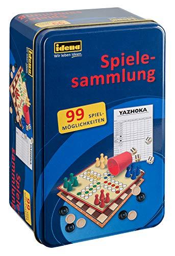 Idena 6100015 - Spielesammlung mit 99 Spielmöglichkeiten, in Tinbox, inklusive Mensch ärgere Dich nicht und Kniffel, Spielanleitung, für 2 bis 8 Spieler ab 6 Jahren