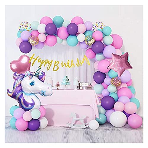 YSDSPTG Globos 107pcs / Lot Unicorn Party Globos Garland Foil Unicorn Latex Pink Purple Ballons Banner Feliz Cumpleaños para la Fiesta (Color : No1 107pcs Set)
