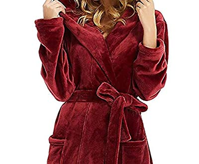 Nacome Womens Hooded Fleece Robes Plush Comfy Soft Warm Gown Housecoat Bathrobe