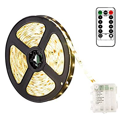 2M 120Leds Battery Strip Light with Remote, Timer, 8 Modes, Dimmable, Self-Adhesive, Cuttable, Warm White Strip Lights Waterproof for Kitchen Cupboards Cabinet Shelves Bedroom Decor