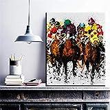 Peinture abstraite multi-personne équitation cowboy peinture à l'huile toile maison salon chambre décoration 50x70 CM