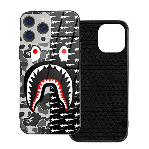 Camo B-A-Pe Shark Art, funda simple para iPhone 12 Pro con TPU suave, a prueba de golpes, protector de pantalla vintage para Apple iPhone 12 Pro