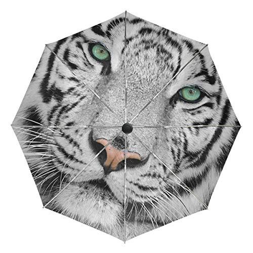 Wamika Weißer Tiger Automatischer Regenschirm Tiergrau schwarz winddicht wasserdicht UV-Schutz Reiseschirm – 3 Falten Auto Öffnen/Schließen Knopf Sonne & Regen Auto Regenschirm