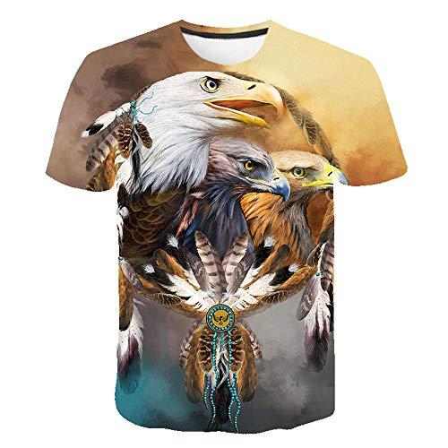 Sunofbeach Unisexe Tee Shirt Imprimé 3D Manches Courtes T-Shirts - pour Homme et Femme, Dreamcatcher et aigles,XXXL