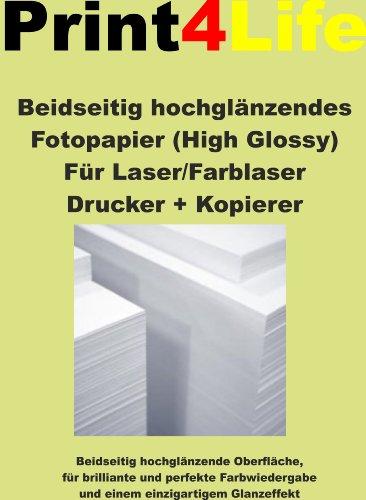 250x Fotopapier A4 120g /m² beidseitig hochglänzende Oberfläche, für perfekte Farbwiedergabe + einzigartigem Glanzeffekt + gestochen scharfe perfekte Ausdrucke nur für Laserdrucker und Kopierer