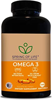 Spring of Life Premium Omega 3 Softgels with EPA & DHA, No Fish burps! 120 Soft Gel Capsules with Natural Lemon Flavor