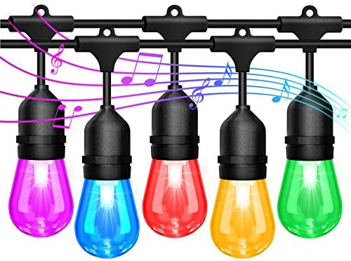 2 Pack 48FT LED Outdoor String Lights Sync with Music RGB Color Changing Waterproof Patio Lights product image
