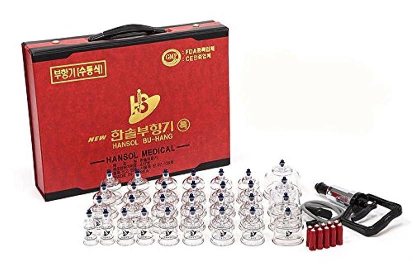 ファンシー一流ええEMS特急配送-ハンソル(HANSOL)カッピング (プハン)セット-カップ7種類 30個 つぼ押しピン10本付き