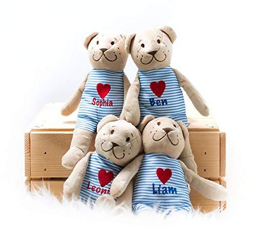 AngelicArt Teddy mit Wunschnamen Stofftier mit Namen personalisiert für Jungs und Mädchen