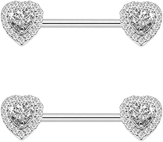 Kokoma 14G Love Heart Cubic Zirconia Nipple Rings Bar 316L Stainless Steel Tongue Ring Barbell Piercing Body Jewelry