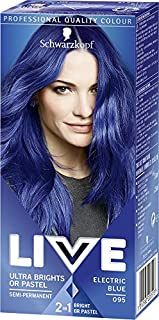 Schwarzkopf Live Ultra Bright or Pastel Colouration, Electric Blue Number 095 - Pack of 3, 6-8 washes