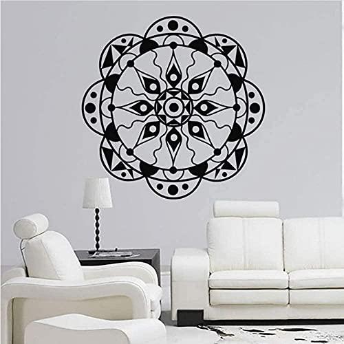Etiquetas de pared Adorno de yoga Ornamento Indio Calcomanía Art Pegatina Lotus Flower Sala de estar Decoración 56 * 56cm