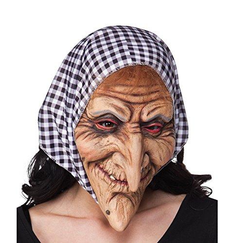 PARTY DISCOUNT NEU Maske Hexe aus Latex, mit Haube