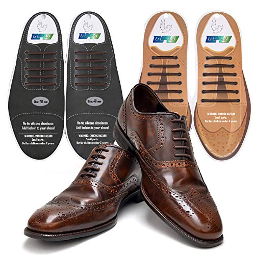 tababy No Tie Shoe Laces for Men and Women Silicone Elastic Waxed Thin Oxford Round Shoelaces for Dress and Leather Shoes (Combo Brown)