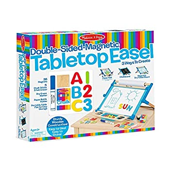 Melissa & Doug Double-Sided Magnetic Tabletop Art Easel - Dry-Erase Board and Chalkboard
