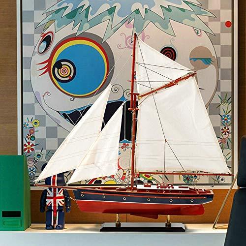 Sebasty Adornos de madera de barco de vela modelo de decoración Dhow modelo barco oficina estilo europeo decoración 60 x 60 cm