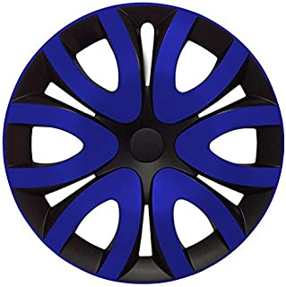 Eight Tec Handelsagentur (Größe wählbar) 15 Zoll Radkappen/Radzierblenden MIKA Schwarz/Blau passend für Fast alle Fahrzeugtypen – universal