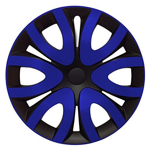 Eight Tec Handelsagentur (Größe wählbar) 16 Zoll Radkappen/Radzierblenden MIKA Schwarz/Blau passend für Fast alle Fahrzeugtypen – universal