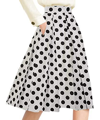 Yige Women's High Waisted A line Skirt Skater Pleated Full Midi Skirt Black-dots US2
