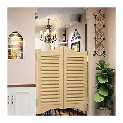 Cafe Puertas Inconcluso Contrapuertas con Bisagras de pivote Interior Prefabricado Puerta batiente de salón Puerta de Gravedad Auto Cerrado para baños de Bar (Color : Natural, Size : 74x90cm)
