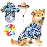 EXPAWLORER Hawaiian Dog T-Shirt Set - Summer Pet Clothes Apparel with Straw Hat and Garland for Small Medium Large Dogs