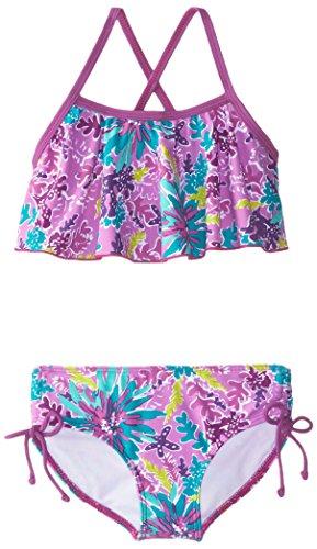 Kanu Surf Girls' Karlie Flounce Bikini Beach Sport 2-Piece Swimsuit, Ariel Purple, 2T