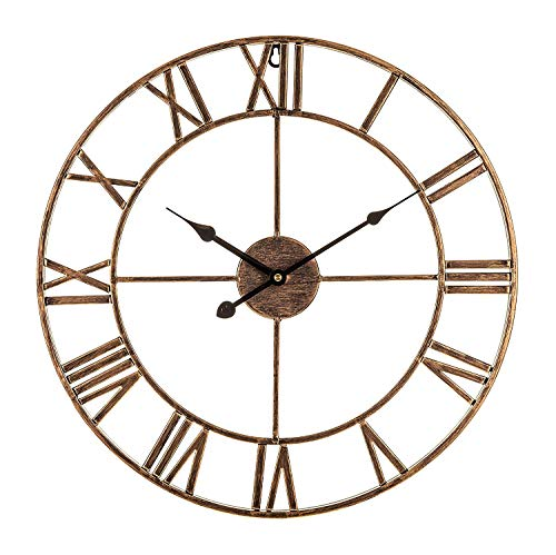 HP-YSH CcCoCc Forge Reloj De Pared, Grande, De Estilo Vintage, Negro/Dorado, con Número Romano De Marco De Esqueleto Extra Grande (40CM / 60CM / 80CM)