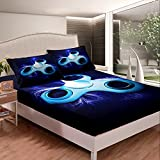 Erosebridal Boys Finger Tip Toy Bed Sheet Hand Spinning Machine Sheet Set,Adult Youth Fidget Spinner Fitted Sheet Bright in Neon Lines Bed Cover Game Toys Kids Bedroom Decor Twin Size Blue
