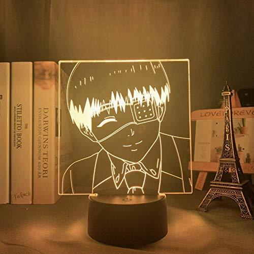 Luz nocturna 3D con diseño de anime Tokyo Ghoul Ken Kaneki para niños, dormitorio, decoración, regalo de cumpleaños, manga, gadget Tokyo Ghoul, lámpara Kaneki, 7 colores al tacto