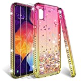 HATOSHI Samsung Galaxy A10e Case (Not Fit A10) with Screen Protector Tempered Glass [2 Pack] for Girls Women, Floating Glitter Sparkle Bling Clear Cute Phone Cover for Galaxy A10e 5.8'' (Pink/Gold)