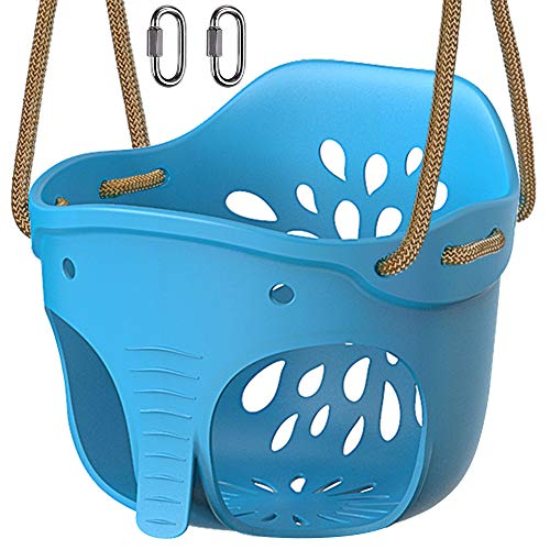 BeneLabel Cute Elephant High Back Full Bucket Toddler Swing Seat with Adjustable Rope, Playground Swing Set Accessories Replacement, 600LB Weight Limit, 2 Carabiners, Blue