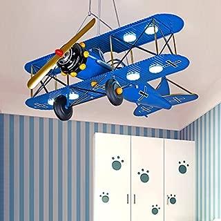 LITFAD Airplane Modern Art Deco Pendant Light Cartoon Biplane 8 Lights Chandelier Navy Blue Metal LED Suspended Light for Amusement Park Living Room Boys Bedroom Children's Room