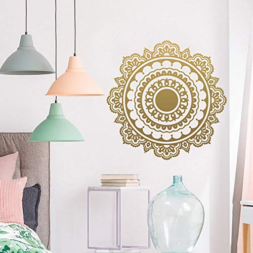 ZJfong Mandala Bouddhisme Inde Sticker Mural Pour Salon Amovible Vinyle Stickers Muraux Décor Papier Peint 58 x 57 cm