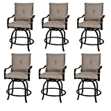 Rimba Outdoor Swivel Chairs Height Patio Counter Bar Stools with Beige Cushions (Set of 6)