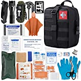 [2021 Upgrade] Trauma Survival First Aid Kit Outdoor Molle System Tactical Gear Set Trauma Kit Military Grade for Camper Travel Hunting Hiking and Adventures(Black)