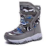 BODATU Boys Girls Snow Boots Outdoor Waterproof Winter Kids Shoes Little Kid 11, Grey
